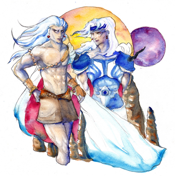 Lunarian Brothers (watercolor) by Kame
