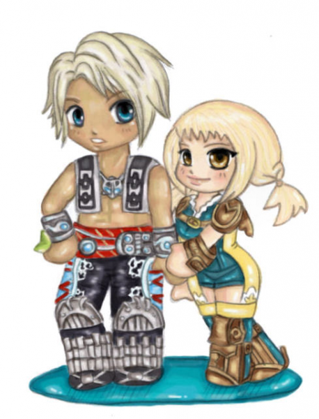 Chibi Penelo and Vaan by majdarts