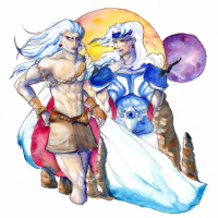 'Lunarian Brothers (watercolor)' by Kame