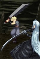 Cloud VS Sephiroth by Hcxiii